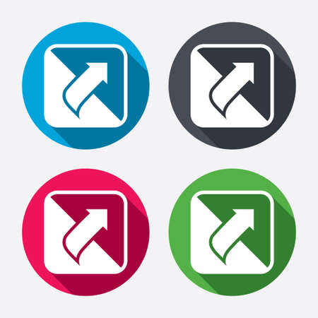 page long: Turn page sign icon. Peel back the corner of the sheet symbol. Circle buttons with long shadow. 4 icons set. Vector