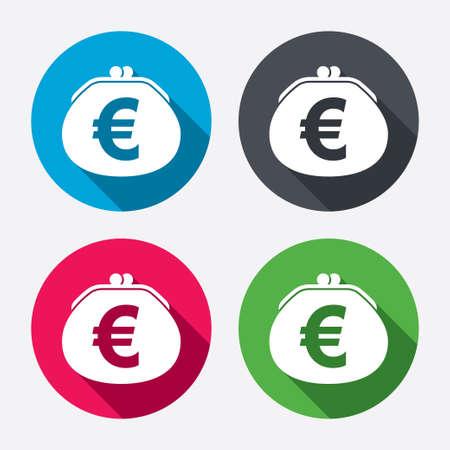 euro teken: Portemonnee euro teken pictogram.