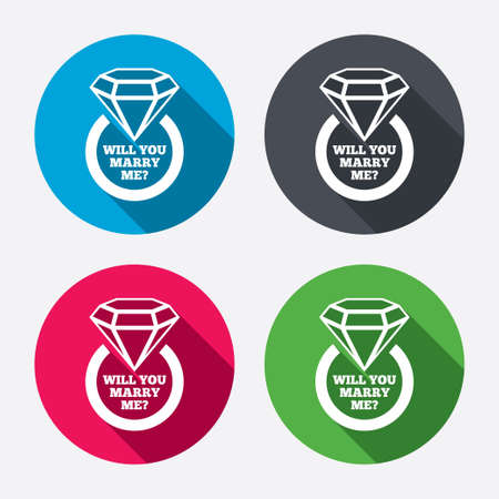 will you marry me: Will you marry me ring sign icon. Engagement symbol. Circle buttons with long shadow. 4 icons set. Vector