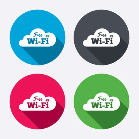 wifi sign: Free wifi sign. Wifi symbol. Wireless Network icon. Wifi zone. Circle buttons with long shadow. 4 icons set. Vector