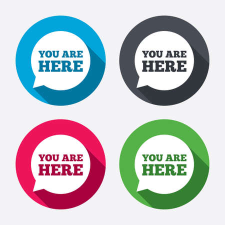 You are here sign icon.  Illustration