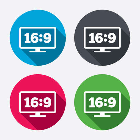 the ratio: Aspect ratio 16:9 widescreen tv sign icon. Monitor symbol. Circle buttons with long shadow. 4 icons set. Vector
