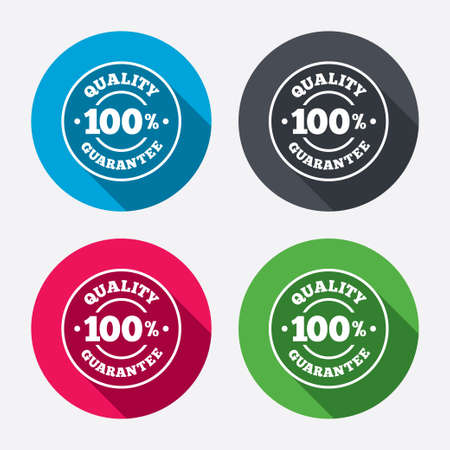 100% quality guarantee sign icon. Premium quality symbol. Circle buttons with long shadow. 4 icons set. Vector Vector