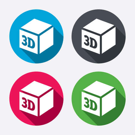 additive manufacturing: 3D Print sign icon. 3d cube Printing symbol. Additive manufacturing. Circle buttons with long shadow. 4 icons set. Vector