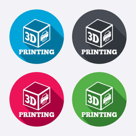 3D Print sign icon. 3d cube Printing symbol. Additive manufacturing. Circle buttons with long shadow. 4 icons set. Vector Vector