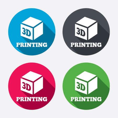 additive: 3D Print sign icon. 3d cube Printing symbol. Additive manufacturing. Circle buttons with long shadow. 4 icons set. Vector