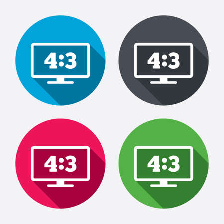 Aspect ratio 4:3 widescreen tv sign icon. Monitor symbol. Circle buttons with long shadow. 4 icons set. Vector Vector