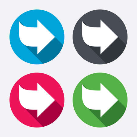 next button: Arrow sign icon. Next button. Navigation symbol. Circle buttons with long shadow. 4 icons set. Vector
