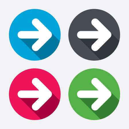 back button: Arrow sign icon. Next button. Navigation symbol. Circle buttons with long shadow. 4 icons set. Vector