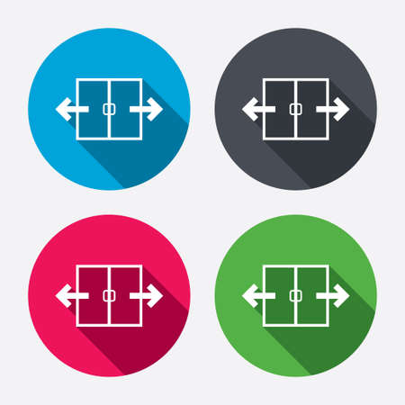 4 door: Automatic door sign icon. Auto open symbol. Circle buttons with long shadow. 4 icons set. Vector Illustration