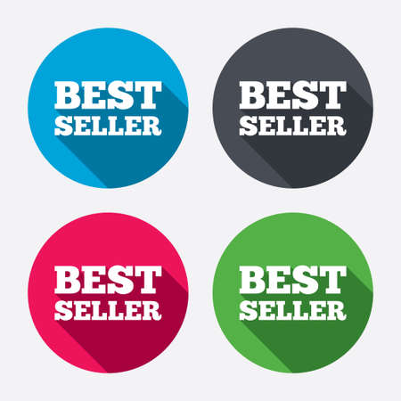 best seller: Best seller sign icon. Best seller award symbol. Circle buttons with long shadow. 4 icons set. Vector Illustration