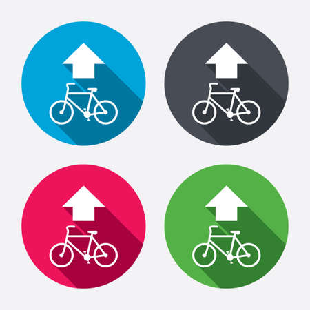 straight path: Bicycle path trail sign icon. Cycle path. Up straight arrow symbol. Circle buttons with long shadow. 4 icons set. Vector