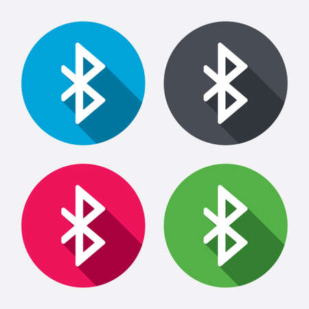 bluetooth: Bluetooth sign icon. Mobile network symbol. Data transfer. Circle buttons with long shadow. 4 icons set. Vector