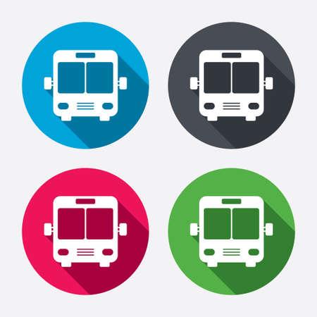 parada de autobus: Icono de signo de autobuses. S�mbolo transporte p�blico. Botones de c�rculo con larga sombra. 4 iconos conjunto. Vector