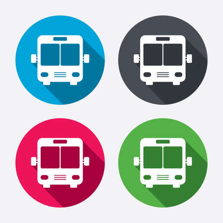 Bus sign icon. Public transport symbol. Circle buttons with long shadow. 4 icons set. Vector