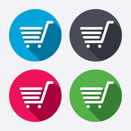 Winkelwagen teken icoon. Online kopen knop. Cirkel knoppen met lange schaduw. 4 iconen set. Vector Stock Illustratie
