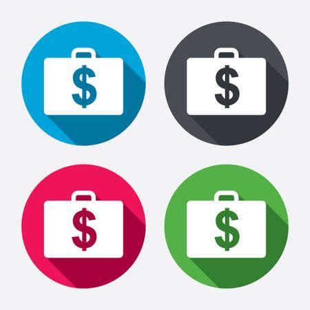 Koffer met Dollars USD teken pictogram. Aktetas knop. Cirkel knoppen met lange schaduw. 4 iconen set. Vector