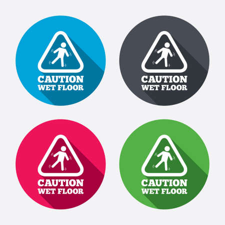 wet floor sign: Caution wet floor sign icon. Human falling triangle symbol. Circle buttons with long shadow. 4 icons set. Vector