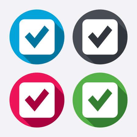 Check mark sign icon. Checkbox button. Circle buttons with long shadow. 4 icons set. Vector Vector