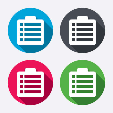 poll: Checklist sign icon. Control list symbol. Survey poll or questionnaire form. Circle buttons with long shadow. 4 icons set. Vector Illustration