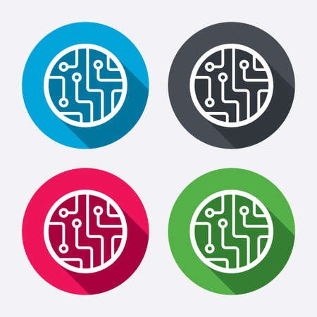 microcircuit: Circuit board sign icon. Technology scheme circle symbol. Circle buttons with long shadow. 4 icons set. Vector
