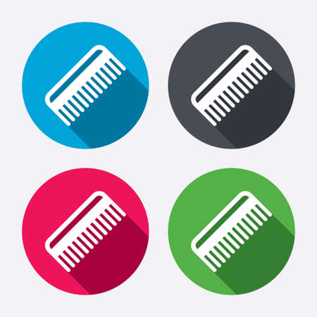 comb hair: Comb hair sign icon. Barber symbol. Circle buttons with long shadow. 4 icons set. Vector Illustration