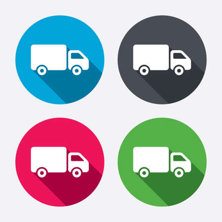 cargo van: Delivery truck sign icon. Cargo van symbol. Circle buttons with long shadow. 4 icons set. Vector