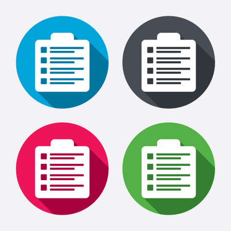 Checklist sign icon. Control list symbol. Survey poll or questionnaire form. Circle buttons with long shadow. 4 icons set. Vector Vector