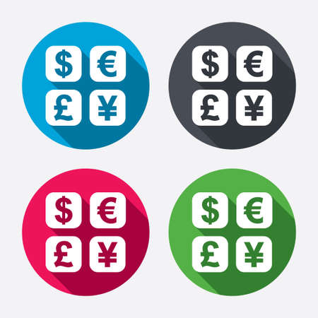 currency converter: Currency exchange sign icon. Currency converter symbol. Money label. Circle buttons with long shadow. 4 icons set. Vector