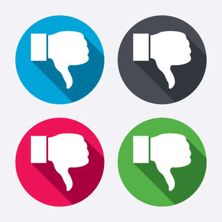 Dislike sign icon. Thumb down sign. Hand finger down symbol. Circle buttons with long shadow. 4 icons set. Vector Vector
