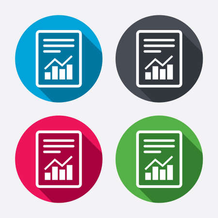 accounting icon: Text file sign icon. Add File document with chart symbol. Accounting symbol. Circle buttons with long shadow. 4 icons set. Vector