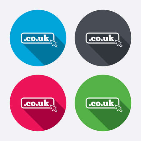 subdomain: Domain CO.UK sign icon. UK internet subdomain symbol with cursor pointer. Circle buttons with long shadow. 4 icons set. Vector