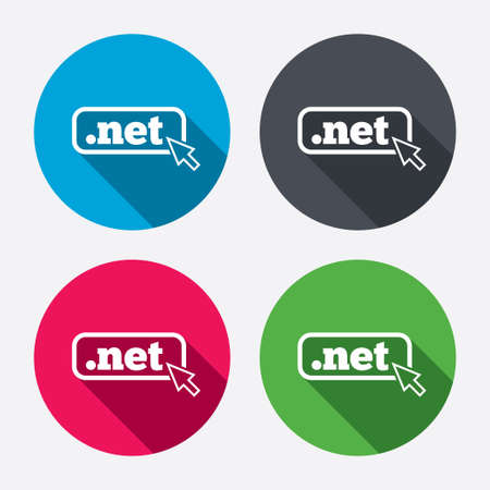 Domain NET sign icon. Top-level internet domain symbol with cursor pointer. Circle buttons with long shadow. 4 icons set. Vector Vector