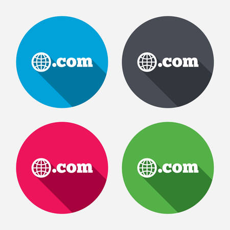 Domain COM sign icon. Top-level internet domain symbol with globe. Circle buttons with long shadow. 4 icons set. Vector Vector