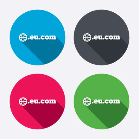subdomain: Domain EU.COM sign icon. Internet subdomain symbol with globe. Circle buttons with long shadow. 4 icons set. Vector