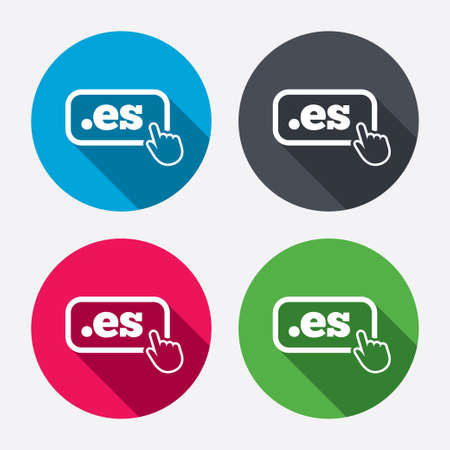 top pointer: Domain ES sign icon. Top-level internet domain symbol with hand pointer. Circle buttons with long shadow. 4 icons set. Vector