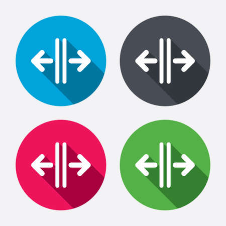 automatic doors: Open the door sign icon. Control in the elevator symbol. Circle buttons with long shadow. 4 icons set. Vector Illustration