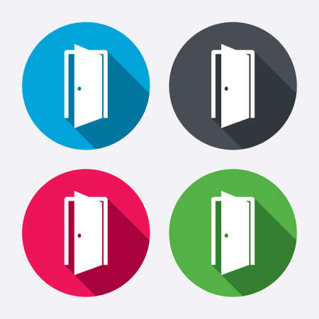 door: Door sign icon. Enter or exit symbol. Internal door. Circle buttons with long shadow. 4 icons set. Vector