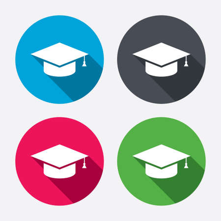 higher education: Graduation cap sign icon. Higher education symbol. Circle buttons with long shadow. 4 icons set. Vector Illustration