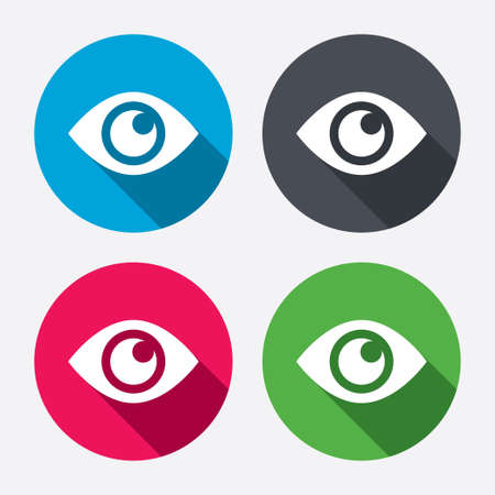 blue eye: Eye sign icon. Publish content button. Visibility. Circle buttons with long shadow. 4 icons set. Vector Illustration