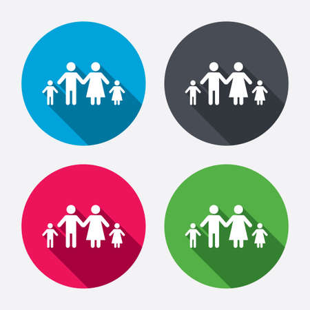 family with two children: Family with two children sign icon. Complete family symbol. Circle buttons with long shadow. 4 icons set. Vector