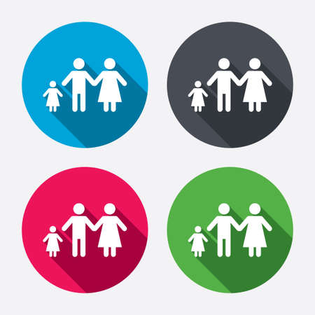 family with one child: Family with one child sign icon. Complete family symbol. Circle buttons with long shadow. 4 icons set. Vector