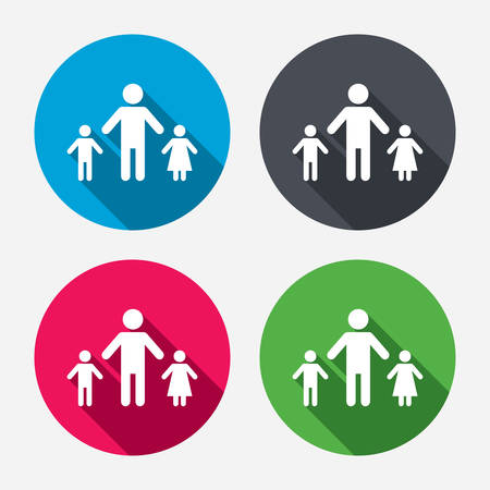 one parent: One-parent family with two children sign icon. Father with son and daughter symbol. Circle buttons with long shadow. 4 icons set. Vector