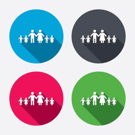 famiglia numerosa: Famiglia Completo di segno molti bambini icona. Grande simbolo di famiglia. Pulsanti di cerchio con lunga ombra. 4 icone set. Vettore Vettoriali