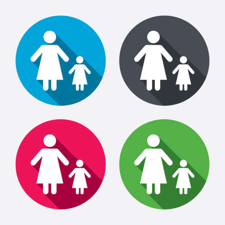 family with one child: One-parent family with one child sign icon. Mother with daughter symbol. Circle buttons with long shadow. 4 icons set. Vector Illustration