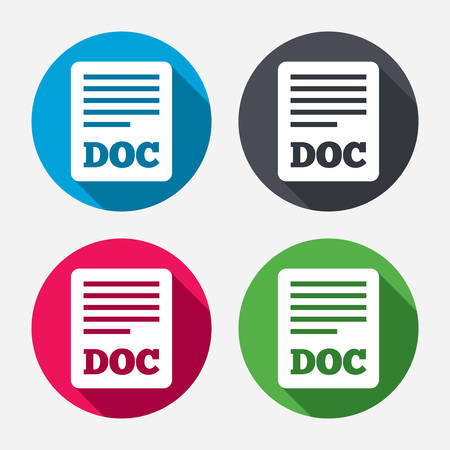 File document icon. Download doc button. Doc file symbol. Circle buttons with long shadow. 4 icons set. Vector Illustration