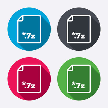 zipped: Archive file icon. Download compressed file button. 7z zipped file extension symbol. Circle buttons with long shadow. 4 icons set. Vector Illustration
