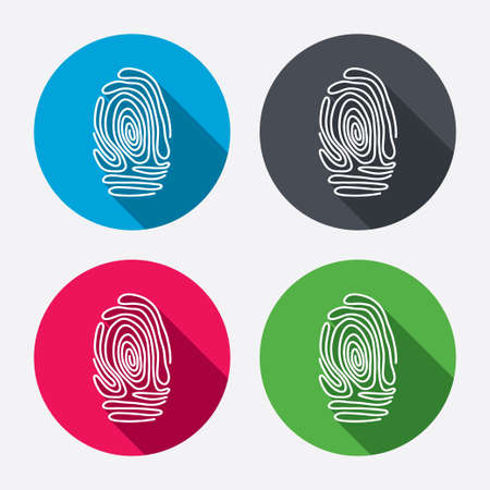 fingermark: Fingerprint sign icon. Identification or authentication symbol. Circle buttons with long shadow. 4 icons set. Vector