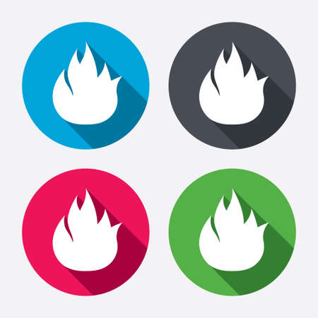fire circle: Fire flame sign icon. Fire symbol. Stop fire. Escape from fire. Circle buttons with long shadow. 4 icons set. Vector