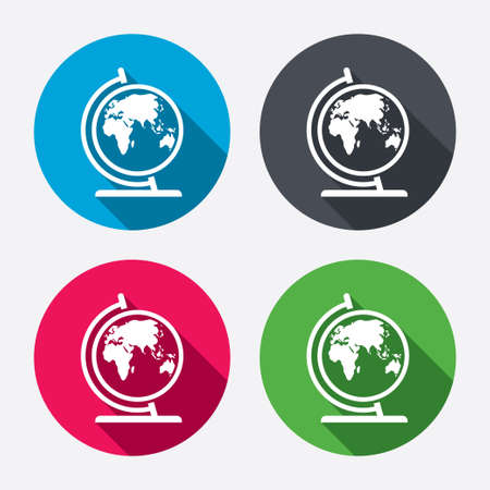 world wide: Globe sign icon. World map geography symbol. Globe on stand for studying. Circle buttons with long shadow. 4 icons set. Vector